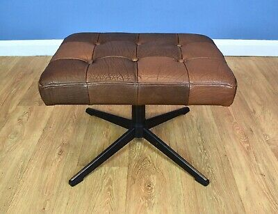 Mid Century Retro Vintage Danish Brown Leather Swivel Foot Stool Ottoman 1970s