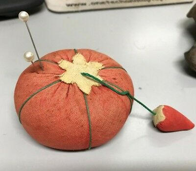 "Vintage Fabric Tomato Pin Cushion w/ Strawberry~ Japan 3"" Sewing Collectible"