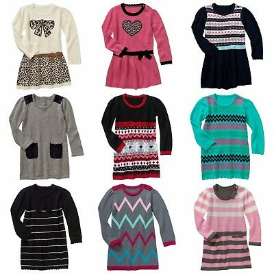 New Girls Baby Toddler Sweater Knit Dress Tusk Pink Blue Grey Teal Winter 2T-5T