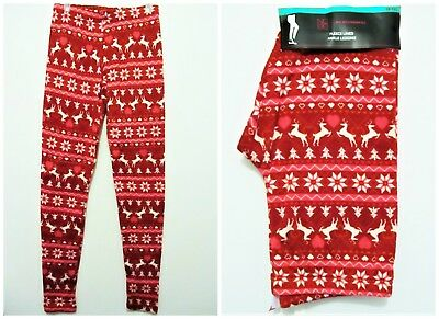 New Girls Juniors women No boundaries Fleece Lined Ankle Legging Christmas Red