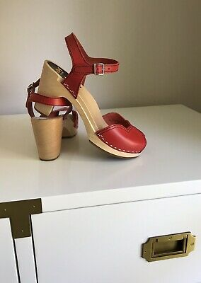 a680f6a47cb8 Swedish Hasbeens Red Leather Ankle Strap Heart Sandal Size 38