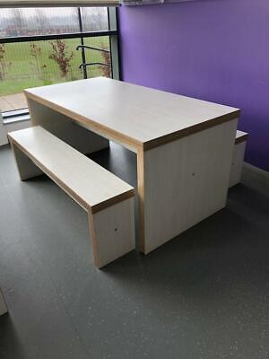 """Chunky Wood Canteen / Dining Table And 2 x Benches 2"""" Tops White Ash"""
