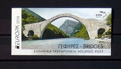 Grecia francobolli 2018 9th set, europa cept bridges, booklet, MNH