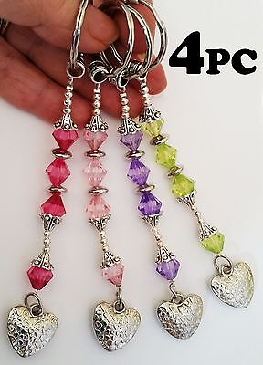 Heart Key Chains & Rings HANDMADE LOT 4-12PC Silver 4 Colors Crystals Key Holder