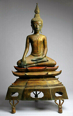 Grosser Buddha Bronze Laos 103 cm 30 kg antik-stil antique alt gilt