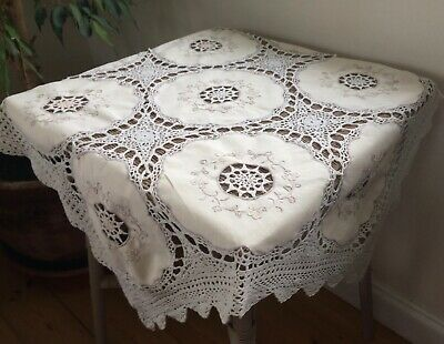 Pretty Hand Made Crochet Lace Small Tablecloth