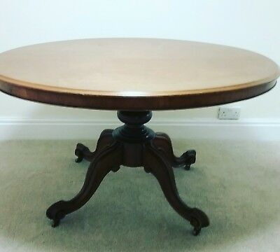 Antique Victorian Mahogany Tilt Top Oval Table