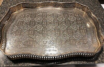 Fine Antique Middle Eastern Persian Islamic Tray Hand Chased Silver Brass Signed