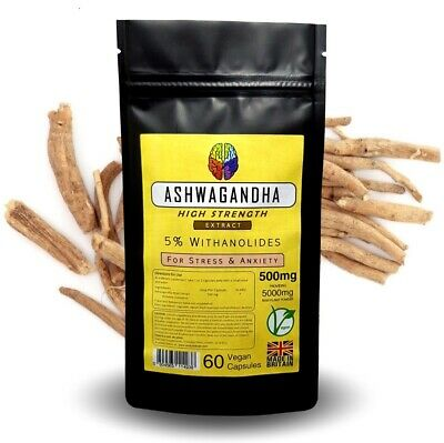 Ashwagandha Root Extract (60 Capsules) - Eq 5000mg - 5% Withanolides + FREE GIFT
