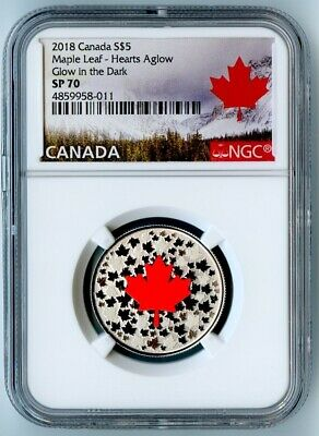 "2018 Canada Ngc Sp70 ""Hearts Aglow"" Silver Glow In The Dark S$5! Top Pop!"
