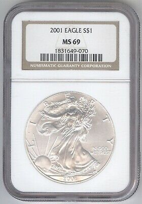 2001 American Silver Eagle S$1 + MS 69 + NGC