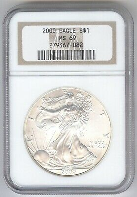 2000 American Silver Eagle S$1 + MS 69 + NGC