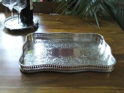 A VINTAGE SILVER PLATED TRAY - Barker Ellis, unusual Shape