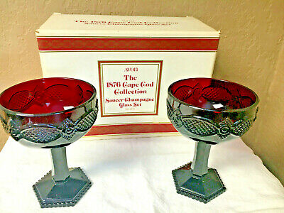 2 VINTAGE AVON 1876 CAPE COD COLLECTION SAUCER CHAMPAGNE GLASSES - NIB Ruby Red
