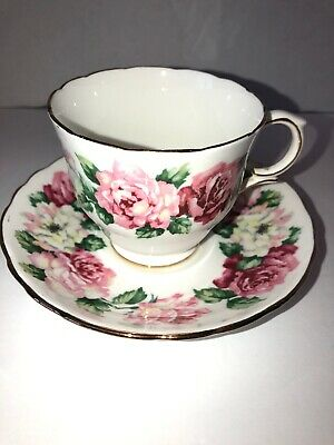 Royal Victoria Pink Roses Scallopped Gold Trim Tea Cup & Saucer Fine Bone China