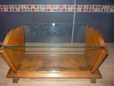 Vintage Art Deco Trough Wooden Glass Trough Oak Book Trough Planter