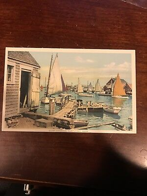 Quiet Harbor Nantucket Mass. Colored Postcard