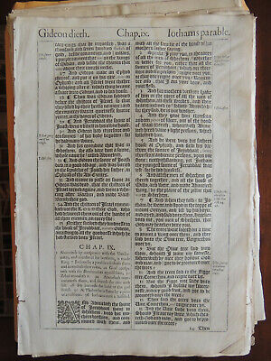 1611 King James She Bible Leaf Judges chapters 8-9 with CoA