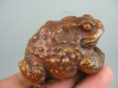 Antique Rare Chinese old Boxwood Hand Carved Frog Netsuke Statue