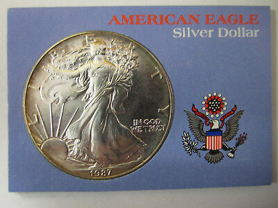 nice 1987 american eagle silver dollar with toning AS SHOWN *4255