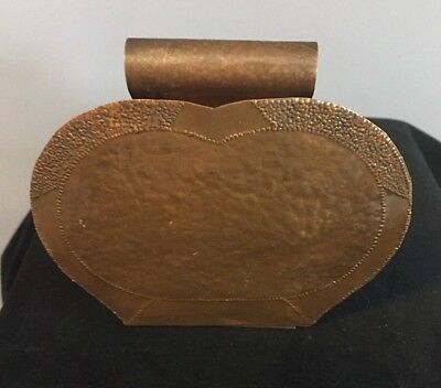 Antique Artist Made Hand Hammered Copper Mission Arts And Crafts Letter Holder