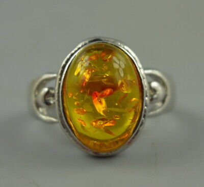 AAA Decorate Chinese Handmade Tibet Silver Carve Inlay Amber Resin Unique Ring