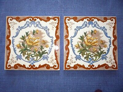 2 Antique Victorian Tiles Yellow Peonies Blue Brown Floral No 454
