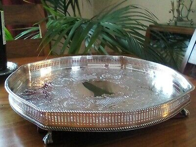 A VINTAGE SILVER PLATED TRAY - Ball & Claw feet, Lovely Shape