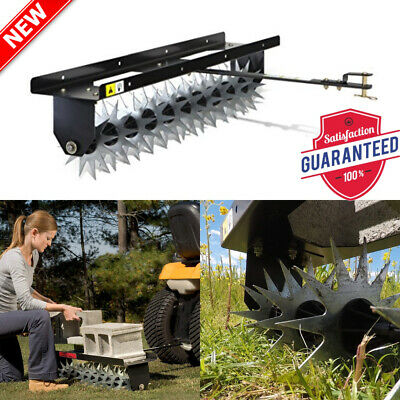 Tow-Behind Spike Aerator Lawn Aerate Soil Steel Star Capacity Weight Tray 40 in