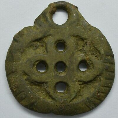 Bronze amulet pendant Cross 5 points 800-1300AD. Viking