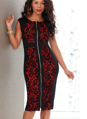 95a8a07d7a Ashro Red Black Lace Formal Dinner Party Chalondra Zip-Up Dress Size XL 14  16