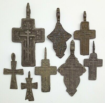 Ancient Bronze Cross amulet pendant 8pc.1600-1800AD. Russian empire
