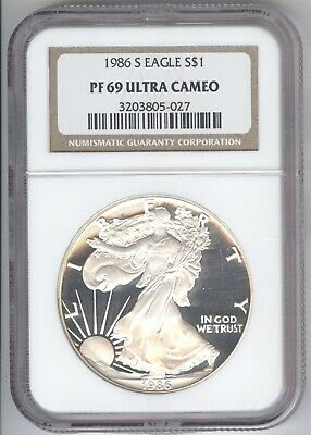 1986 S Eagle Silver Proof + PF 69 Ultra Cameo + NGC + No Reserve!