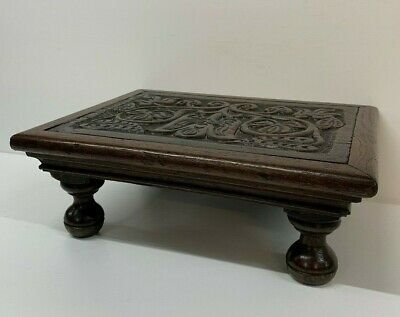 Antique Oak Hand Carved Small Decorative Stool Foot Stool Victorian