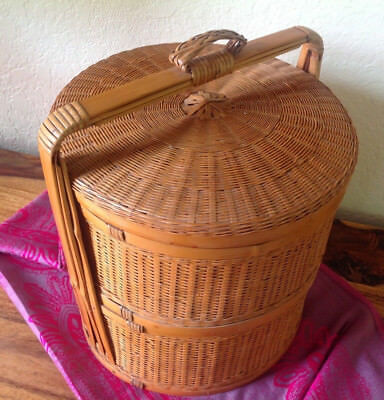 """Vintage Oriental Wedding Stacking Basket~2 TIER~Woven Wicker and Bamboo 14"""" x 12"""