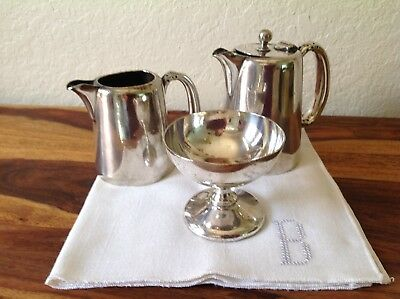 Antique 1850's LOT Mappin & Webb Princes Triple Plate~Creamer, Sugar & Water Pot