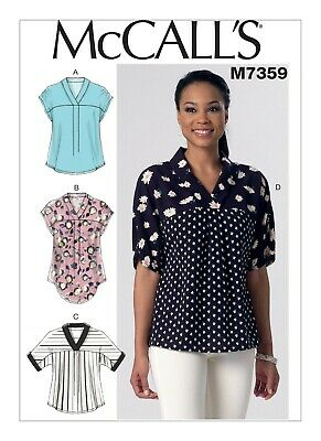 McCall's Sewing Pattern 7359 Misses 16-26 Easy V-Neck Dolman Sleeve Tops Shirts