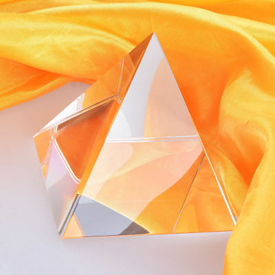 """LONGWIN 4"""" Tall 3 Arris Crsytal Pyramid Paperweight Tetrahedron Prisms"""