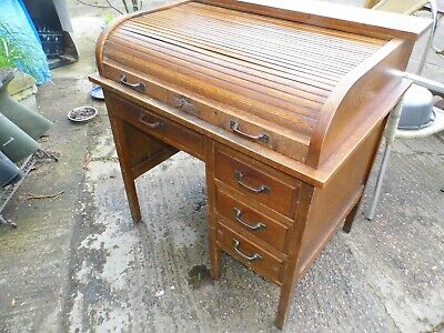 Antique Small Oak Roll Top Tambour Desk - Lockable Front - Key - Drawers Office