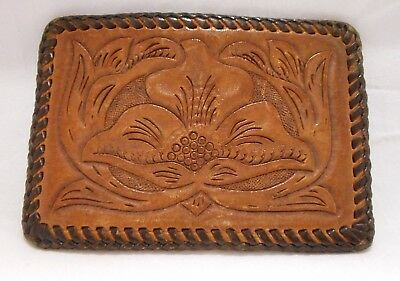 Vintage Leather Hand tooled Belt Buckle Flower Embossed Quality Hand Stitched