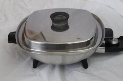 "Aristo-Craft 11 3/4"" West Bend Stainless Steel Electric Skillet Fry Pan w/ Lid"
