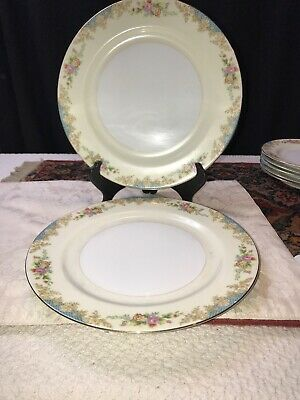Noritake M China 10 inch Dinner Plate Blue Rose and Gold Trim Set of 2