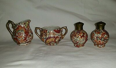 Vintage Enesco Japan Imports Paisley Chintz - Salt & Pepper - Sugar - Creamer