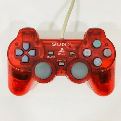 SONY PSone Clear Red Controller PlayStation Genuine OEM
