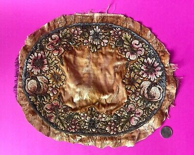 ⭐️Antique 1800s FRANCE SILK VELVET CHENILLE METALLIC BULLION BOUDOIR PILLOW TOP