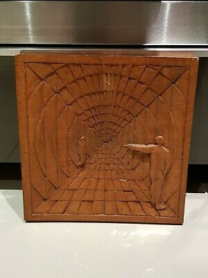 Carved wood wall plaque