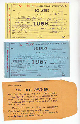 Westmoreland County Pennsylvania Dog License Forms 1956-1957 + Envelope