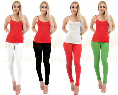 Womens Full Length Ladies Plain Cotton Girls Leggings Plus Size 8 to 24 Trousers