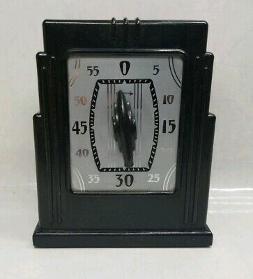 1920s Bakelite Art Deco Kitchen Timer Black/Silver/Chrome TESTED/WORKING Vintage