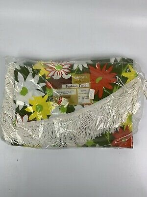 Vintage Tablecloth Vtg Dead Stock Bright Floral Cotton Round Signed A0107
